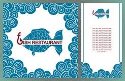 Menú para el restaurante de los pescados, cocina mediterránea, logotipo de los pescados, lunc Imagen de archivo