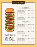 Menú para los alimentos de preparación rápida Fotografía de archivo