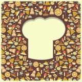 Menú retro de la cubierta con el sombrero de los cocineros Imagen de archivo libre de regalías