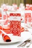 Menú rojo, casandose la decoración Foto de archivo libre de regalías