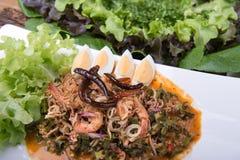 Menú tailandés de la comida Imagenes de archivo