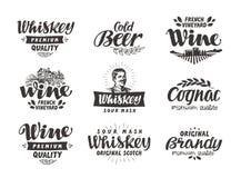 Menü, alkoholische Getränke Vektor beschriftet Wein, Bier, Whisky, Weinbrand, Kognak stock abbildung
