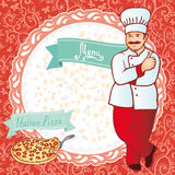 menü Chef mit Pizza Roter Hintergrund mit Blumenkreis Vektor Lizenzfreie Stockbilder