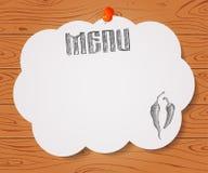 Menü des Restaurants mit Hand gezeichnetem Paprikapfeffer auf Papier auf Woo Stockfoto