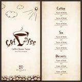 Menü für Gaststätte, Kaffee, Stab, Kaffeehaus Lizenzfreie Stockfotos