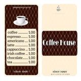 Menü für Kaffeestube Stockbilder