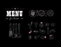 Menü für Liebhaber Nahrungsmittel mit Herzen Glücklicher Valentinstag Gekritzel-Dekorelemente Hand gezeichnet tafel Lizenzfreies Stockfoto