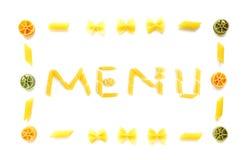 Menü in getrockneten Teigwarenformen stockfotos