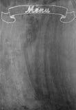 'Menü' Kreideschreiben auf Tafel mit Kopienraum Stockfotos