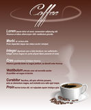 Menü mit einem Tasse Kaffee und Bohnen Stockbild
