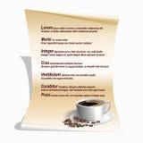 Menü mit einem Tasse Kaffee und Bohnen, Blattpapier vektor abbildung