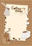 Menü mit einem Tasse Kaffeeschleifer Stockbilder