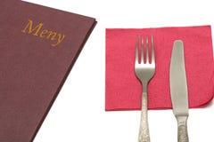 Menü mit Tafelsilber stockfoto
