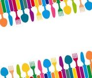 Menü mit Tischbesteckillustration Stockfotos