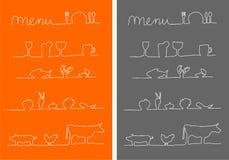 Menü-, Nahrungsmittel- und Getränkmenüikonen Stockbilder
