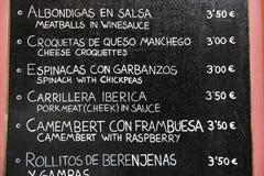 Menü in Spanien Stockfotografie