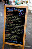 Menü am spanischen Stab Stockfotos