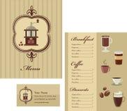 Menü- und Visitenkarteschablonenauslegung - Kaffee Lizenzfreie Stockfotos