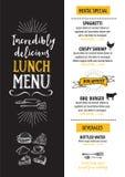 Menücaférestaurant, Schablone placemat Lebensmittelleiterplattenentwurf Stockbild