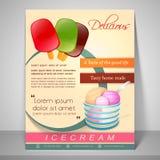 Menükartendesign für Eiscreme Lizenzfreies Stockbild