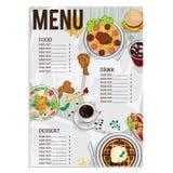 Menülebensmittelrestaurantschablonendesignhandzeichnungsgraphik Lizenzfreies Stockbild