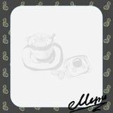 Menüplan für das Café mit einem Bild eines Tasse Kaffees und des Toasts mit durcheinandergemischten Eiern, Text Stockfotografie