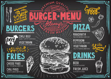 Menürestaurant, Lebensmittelschablone Lizenzfreies Stockbild