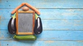 Menüschablone, Tafel, Gemüse Stockfotos