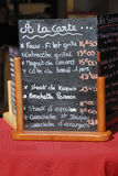 Menüvorstand in Frankreich Lizenzfreies Stockbild