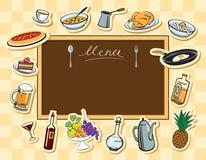 Menüvorstand und verschiedene Teller Vektor Abbildung