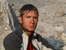 Men. Climber thinks about mountains. After 3 week on Caucasus Stock Photos