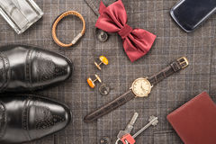 Men accessories. On a gray background Stock Image