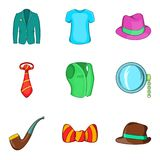 Men accessories icons set, cartoon style. Men accessories icons set. Cartoon set of 9 men accessories vector icons for web isolated on white background Royalty Free Stock Image