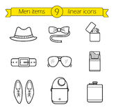 Men accessories linear icons set Royalty Free Stock Photography