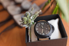 Men accessories. Men  watch. Accessories for the groom ( butterfly,watch and belt Stock Image