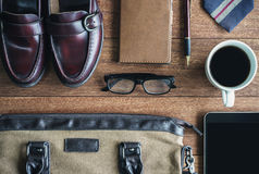 Men accessories on old wooden background, Business themes. With copy space, Top view Stock Photography
