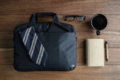 Men accessories on old wooden background, Business themes. With copy space, Top view Stock Images