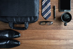Men accessories on old wooden background, Business themes. With copy space, Top view Royalty Free Stock Photos
