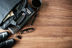 Men accessories on old wooden background, Business themes. With copy space, Top view Stock Photo