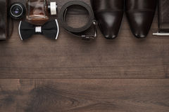 Men accessories in order on the table stock images