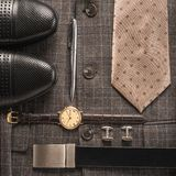 Men accessories. Over gray background Royalty Free Stock Images
