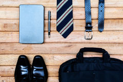 Men accessories on wooden background, Business themes Royalty Free Stock Photos