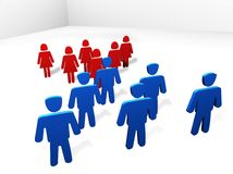 Men against women. 3D render of men and women. Powerful concept for differences between men and women vector illustration