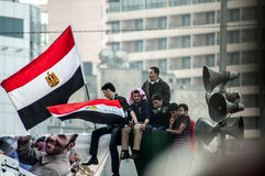 Men in the Arab revolution. In Tahrir Square Stock Photography