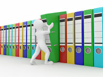 Men with archive from folders. Royalty Free Stock Images