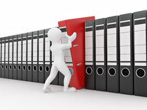 Men with archive from folders. Stock Images
