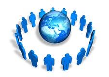Men around the world. Blue men around a globe isolated on white background Royalty Free Stock Photos
