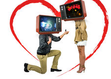 A men asking a woman to married him. tv head. Digital composite of A men asking a women to married him. tv head Stock Image