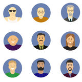 Men avatar icons vector set. People characters in flat style. Design elements isolated on background. Faces with different styles Royalty Free Stock Image