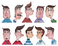 Men Avatars. Artistic work ink and watercolors on paper Royalty Free Stock Photos